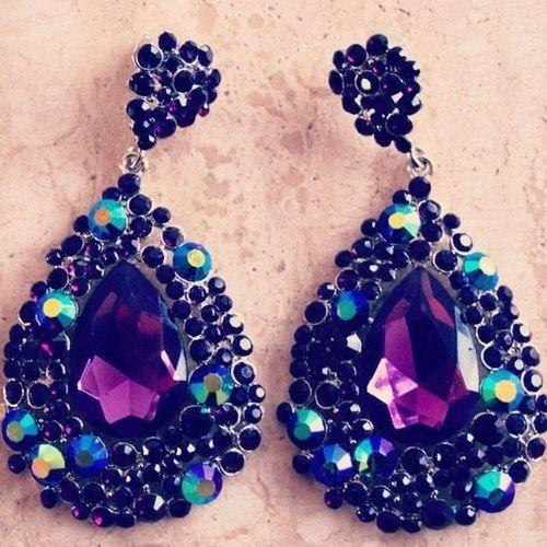 Gorgeous purple-blue-black drop earrings