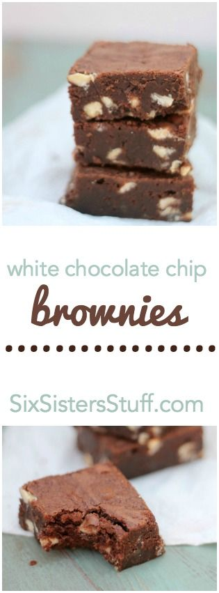 Fudgy White Chocolate Chip Brownies from SixSistersStuff.com