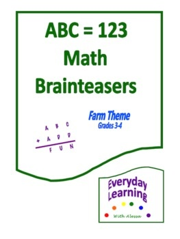 ABC=123 Brainteasers are math-based logic puzzles called alphametics. Use them as daily warm-up exercises, challenge problems, extra credit, gifted enrichment, or as a substitute for in-class work for students who have already mastered the current curricular unit.