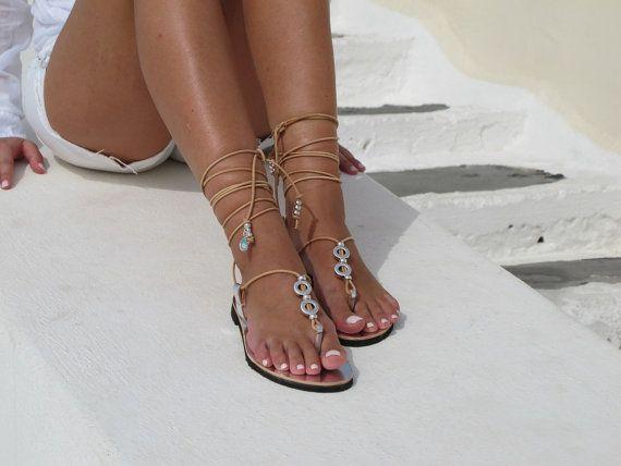 Sandali in pelle in argento pizzo sandali da di GreekChicHandmades