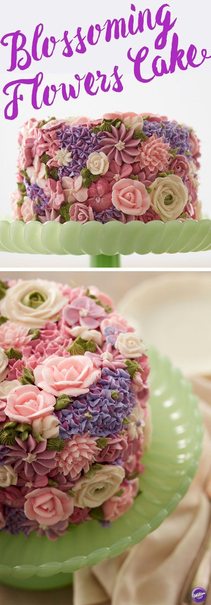 Buttercream flowers in pretty pastels create a garden of sweetness on this cake that's perfect for bridal showers, weddings, Easter or Mother's Day. Showcase your decorating skills using icing colors and the Master Tip Set to recreate this stunning cake. #flowercakes #cakedecoratingtips #weddingtips
