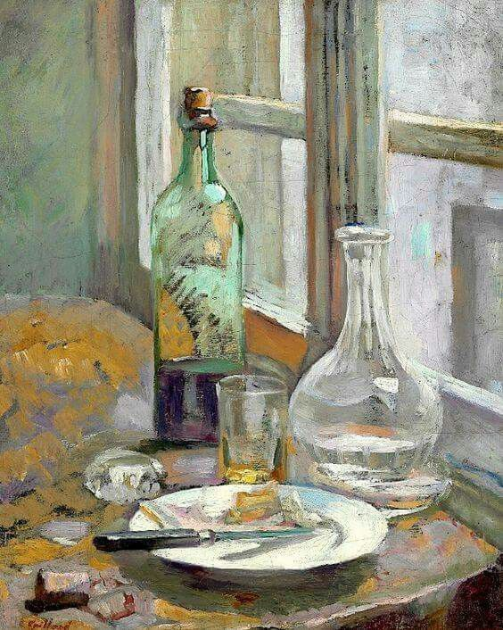 Edouard Vuillard (1868-1940) Nature morte avec bouteille et carafe