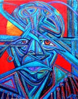 """Haptic Head  Artist: Naomi Rosen  acrylic on canvas 24"""" x 30""""  Naomi Rosen is one of our timeless, contemporary and outsider artists. She renders her perception of what is real in startling and often thought provoking creations."""