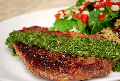 Argentinian Steak with Chimichurri Sauce  recipe adapted from Cook's Illustrated      1 cup flat leaf parsley leaves  1/4 cup cilantro leaves  5 medium garlic cloves, minced  1/2 cup extra virgin olive oil  1/4 cup red or white wine vinegar  2 tablespoons water  1/ cup red (or white) onion, finely minced  1 teaspoon salt  1/4 teaspoon red pepper flakes      Process parsley, cilantro and garlic in work bowl of food processor fitted with steel blade, stopping as necessary to scrape down sides…