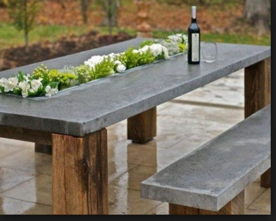 Outdoor Dining Set Concrete Modern Table And Bench Set Outdoor