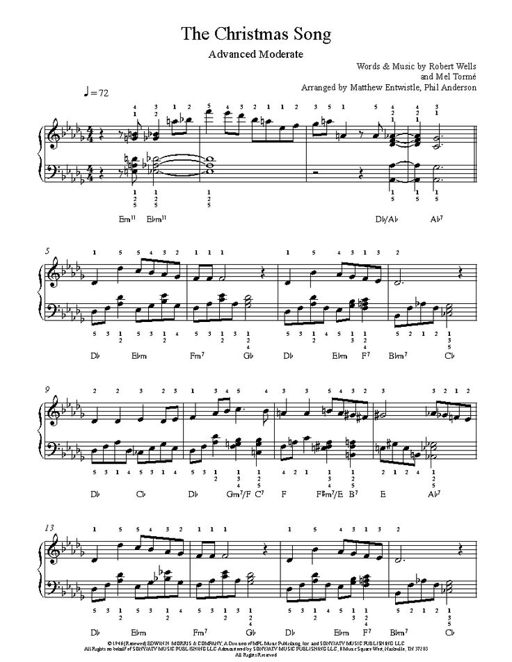 The Christmas Song by Nat King Cole Piano Sheet Music | Advanced Level | Piano sheet music ...