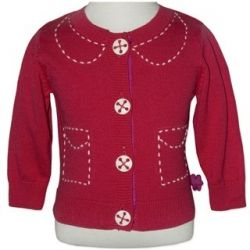 Lovely red cardigan featuring mock white stitched pockets and collar.  Very stylish.  Sizes 0 & 1.