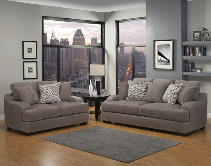 2 Pc Rowland Collection Smoke Fabric Upholstered Sofa And Love Seat Set With Back Arms This Features A Gel Foam Inner Spring Cushion Encas