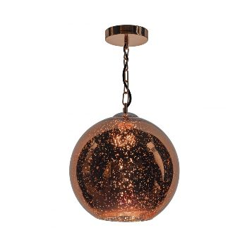Copper Speckle Pendant Light: This gorgeous speckle glass globe of dappled, speckled copper that when illuminated gives off a warm glowing light that adds oodles of atmosphere to any interior. Matching ceiling plate and finished with at on a bright copper base and finished with luxury black braided cable.