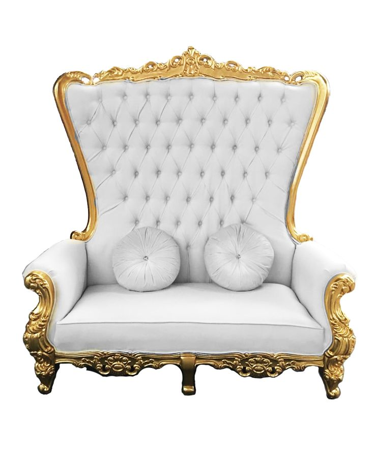Double High Back Chair Queen Throne in White Leather Gold