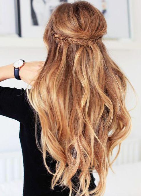 fishtail crown braid + long curls
