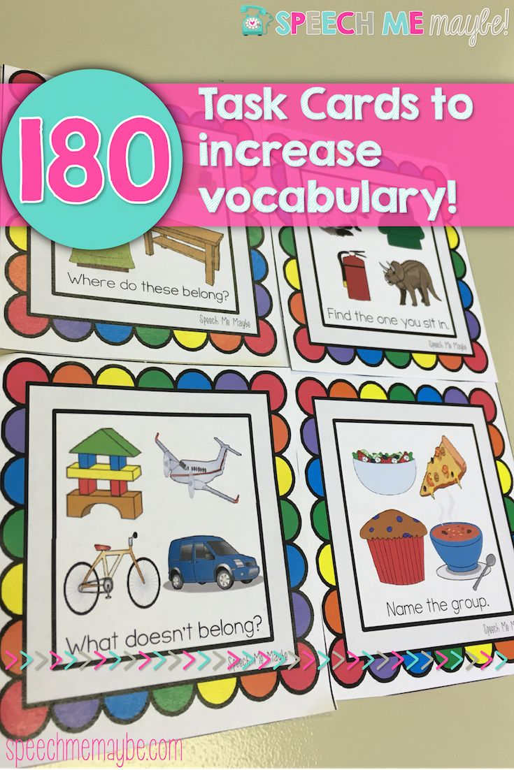 This product is a set of semantic activities meant to teach vocabulary skills to children with autism and related disabilities. There are two different levels included to use with your caseload and five areas that teach vocabulary skills.  Level 1 – Picture Level – 90 task cards Level 2 – Word Level – 90 task cards  180 Task Cards Total!  1)What Doesn't Belong? 2)What Goes Together? 3)Categories 4)Associations (Function, Feature, Attributes) 5)Locations