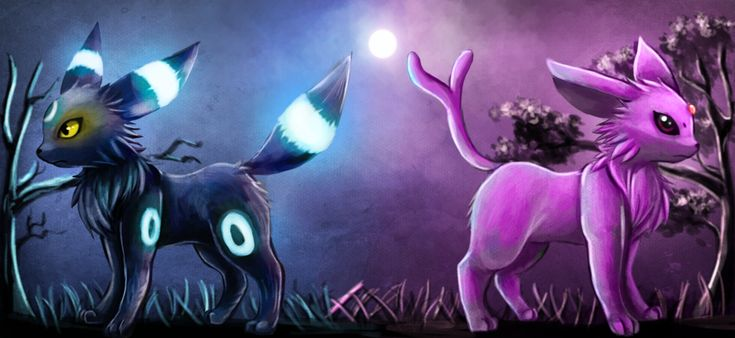 Umbreon and Espeon by =AbusoRugia on deviantART