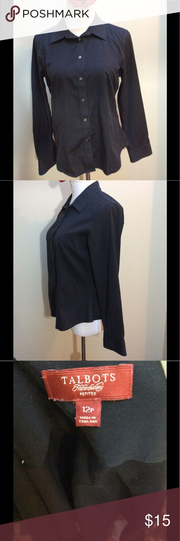 Talbots Haberdashery Button Black Shirt Petite 12P Make these yours!  	•	Classic Black Wrinkle Resistant Talbot Haberdashery Button Down Long Sleeve Shirt - Cotton Blend