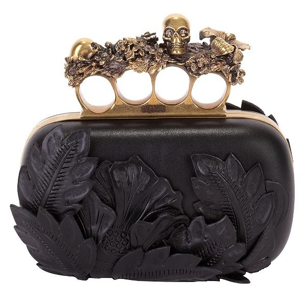 Alexander McQueen black 3D flower knuckle box clutch 1 So Awesome!!!!!!