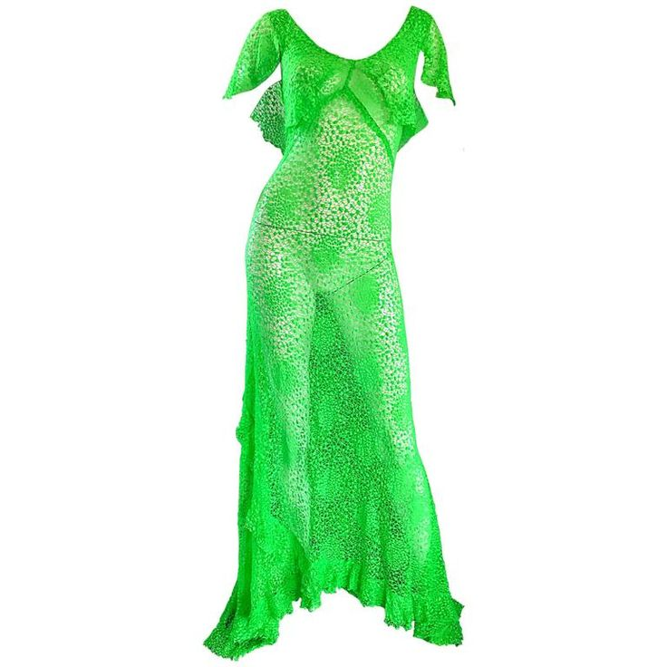 Incredible 1930s Bright Neon Green Hand Crochet Vintage 30s Bias Cut Gown | From a collection of rare vintage evening-gowns at https://www.1stdibs.com/fashion/clothing/evening-dresses/evening-gowns/