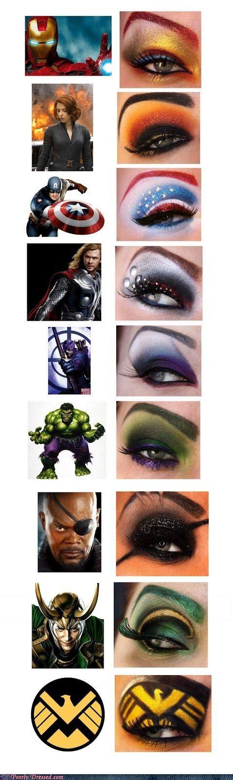 Avengers Movie heroes Eye Makeup Styles