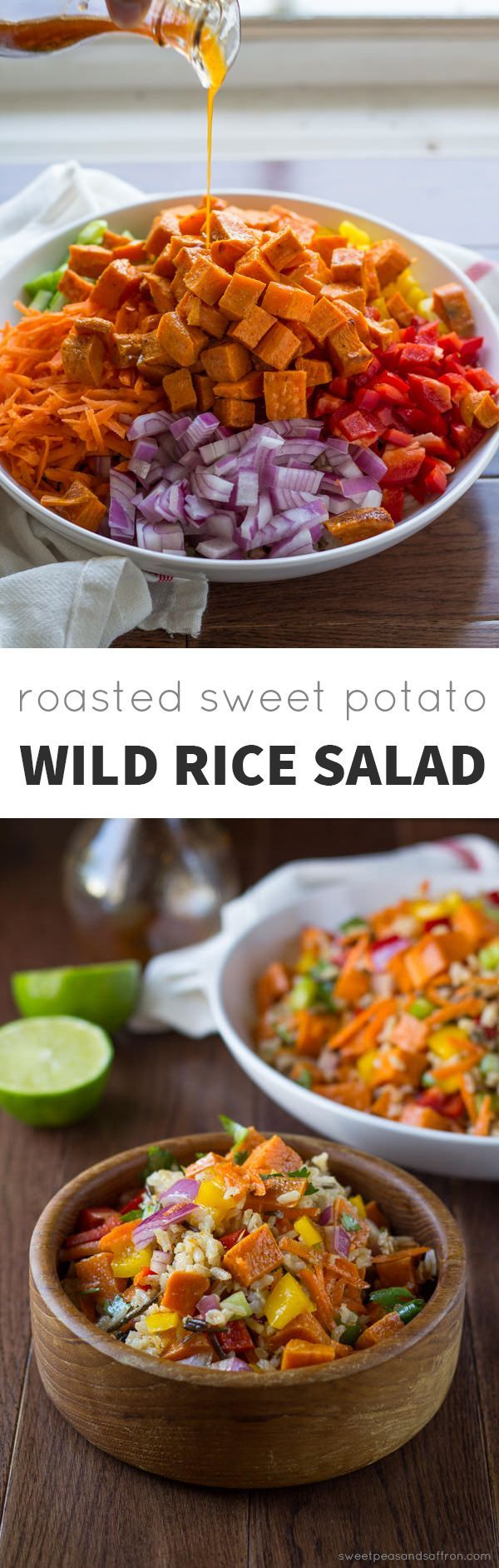 Roasted Sweet Potato Rice Salad with Chili Lime Vinaigrette- Roasted sweet potatoes, carrots, peppers, celery, onions and wild rice are tossed in a honey-chili-lime vinaigrette. @sweetpeasaffron