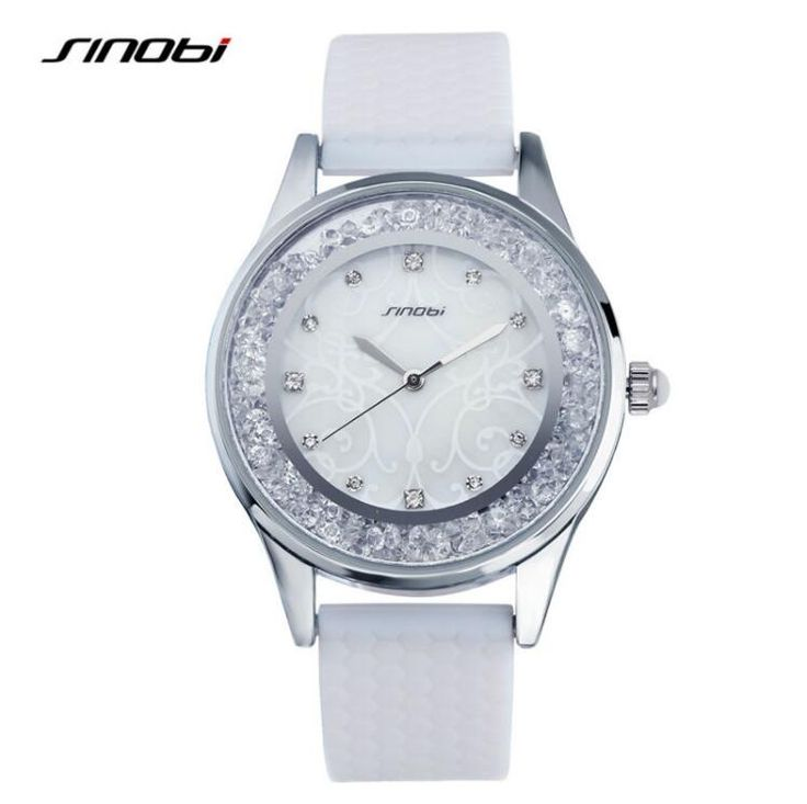 SINOBI Fashion Ladies Watches Luxury Brand Silicone Strap Women Wrist Quartz Watch Diamond Females Wristwatches relogio feminino