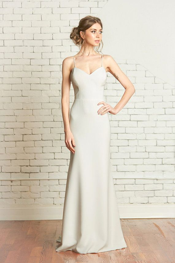 """Matte Crepe Fitted Wedding Gown with Deep Sweetheart Bodice, Low back, Godet Train, the """"Evan"""""""
