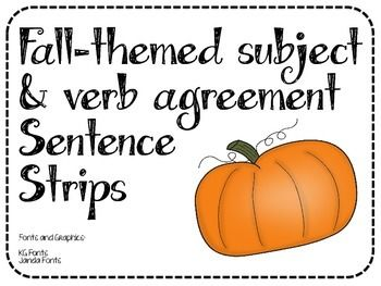 Students will choose the correct form of the verb so that the subject and verb agree in this fall-themed activity. Sentence strips, verb cards, and recording sheet provided, along with an answer key.