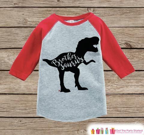 Toddler Dinosaur Shirt - Sibling Shirts, Brother, Sister - Kids Red Raglan Shirt - Kids Baseball Tee - Kids Dinosaur Shirt - Toddler, Youth - 7 ate 9 Apparel