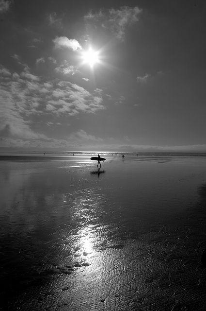 Surfer at Saunton Sands Devon Black and White | Flickr - Photo Sharing!