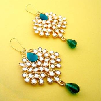 14k Gold plated large Kundan earrings with a green crystal centre drop. Easy to wear and would add a lovely Indian accent. Would look lovely paired with even a simple salwar Kameez or a festive saree