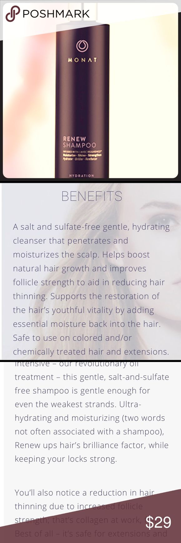 MONAT RENEW Shampoo 9.6oz NEW MONAT is hair care that truly cares for your hair. Monat creators combined active botanical ingredients with state-of-the-art scientific technologies to deliver naturally based products that address the effects of the environment, chemicals, product overuse and — most importantly — hair thinning, hair loss and aging. (Taken from Monatglobal.com) - Made in USA 🇺🇸 only Anti-Aging Hair Care Line MONAT Other