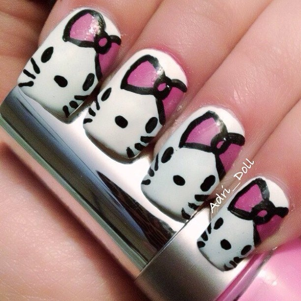 The 25 best kitty nails ideas on pinterest cat nail art cat hello kitty nail nails nailart prinsesfo Images