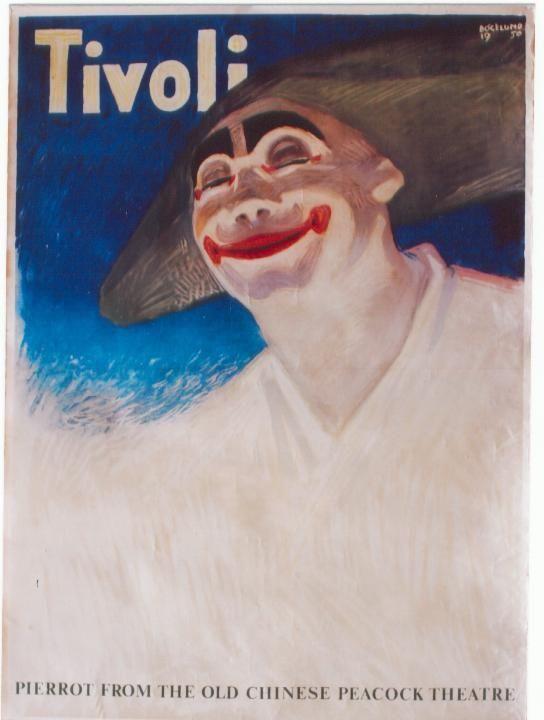 Original vintage poster TIVOLI COPENHAGEN CLOWN PIERROT 1950  Vintage, Copen...