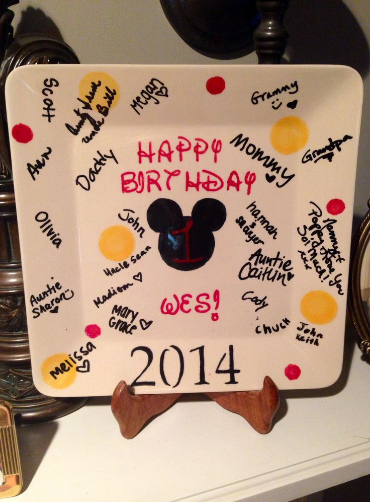 """Mickey Mouse party """"guest book"""" signed plate"""