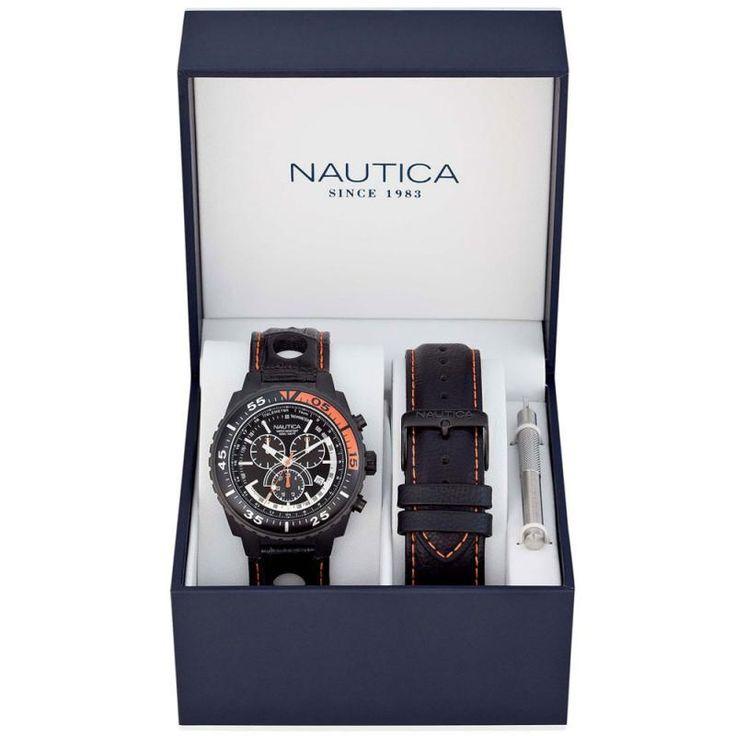 Ρολόι NAUTICA Box Set Chrono Black Leather Strap