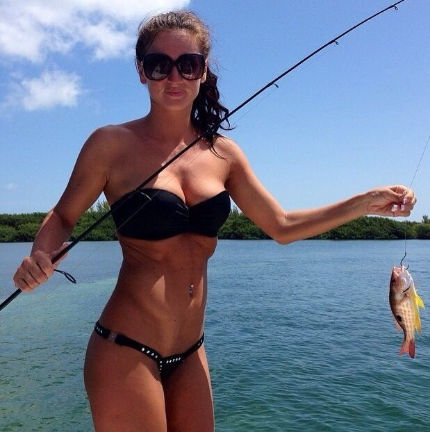 The 260 best images about fishing girls on pinterest for Women fishing in bikinis