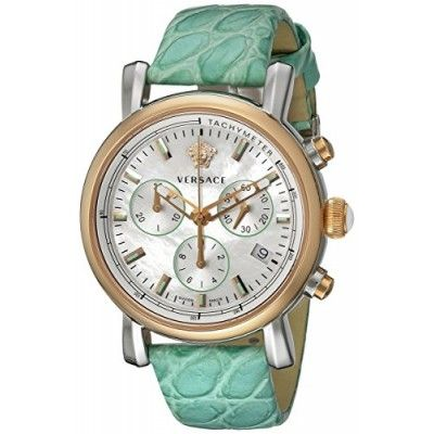 WOMEN`S WATCHES, Versace, Versace Women's VLB120015 Day Glam Chrono Analog Display Swiss Quartz Green Watch