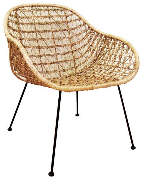 """Open Weave accent chair Rattan and Steel Size: 24.5""""W x 26""""D x 30.5""""H"""