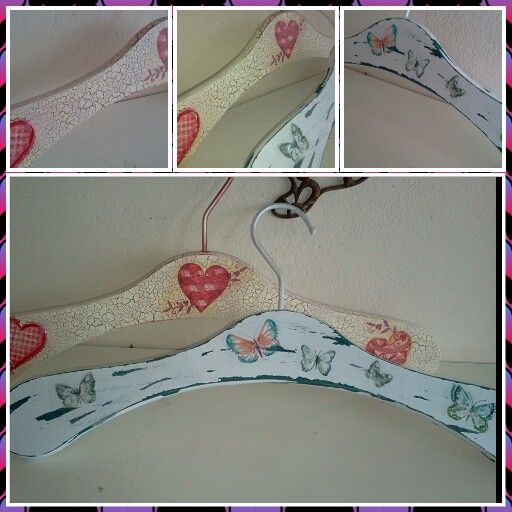 Decoupage on Wooden hangers with cracking & shabby chic effe.