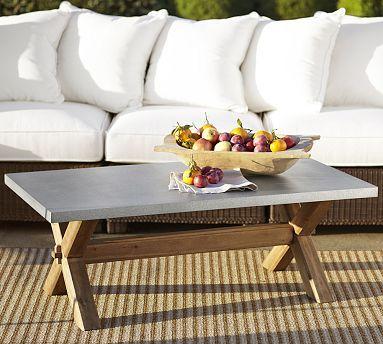 Abbott Zinc Top Rectangular Coffee Table #potterybarn
