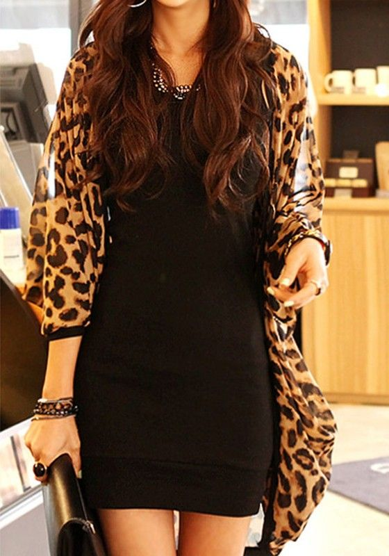 Brown Leopard Print 3/4 Sleeve Chiffon Blouse