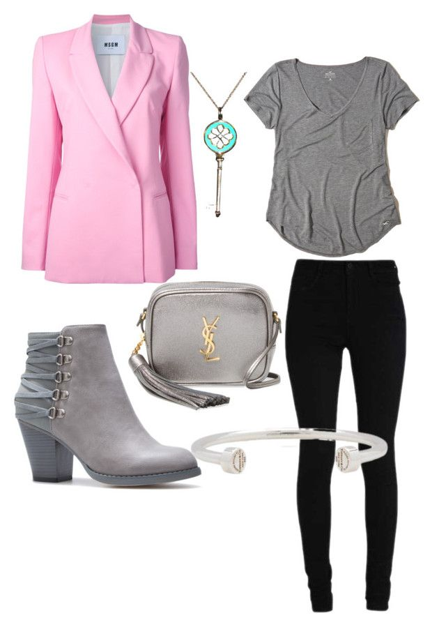 """pink + grey = ❤"" by brittanynorma on Polyvore featuring MSGM, Hollister Co., Yves Saint Laurent and Tiffany & Co."