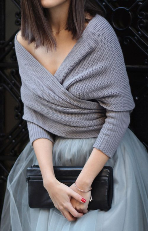 fall fashion gray knit tulle