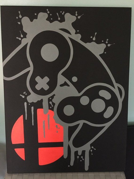 Gamecube Smash Video Game Controller Painting, Video Game Art, Hand Painted, Custom Colors,Custom Wa – Characters