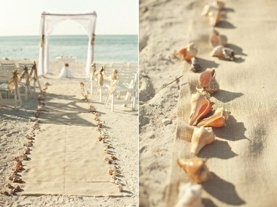Beach Wedding - beautiful idea for a runner / walkway so its a little easier to walk down