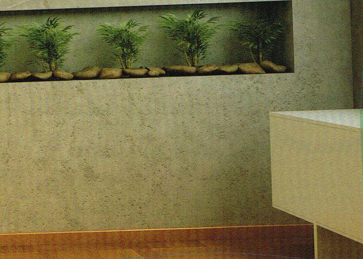 nicho horizontal na parede revestido com mesmo material da da parede com vegetação