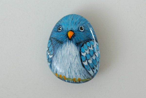Blue Parrot, hand painted stone