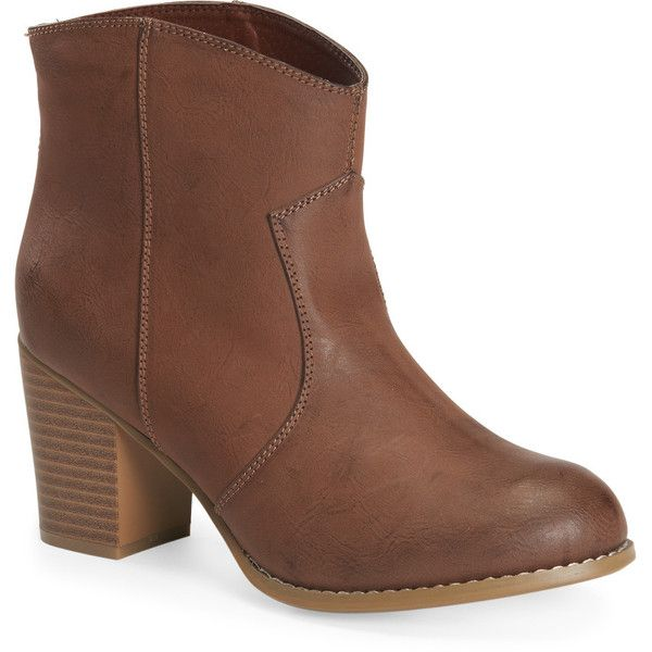 Aeropostale Western Bootie ($29) ❤ liked on Polyvore featuring shoes, boots, ankle booties, dark brown, ankle boots, cowboy boots, ankle cowgirl boots, high heel boots and dark brown booties