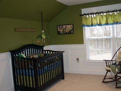 This was Aidan's crib bedding, I love the wainscotting but I would move it 3/4 up the wall