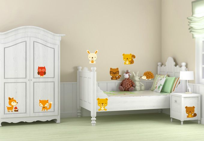 Süßes Wandtattoo Waldtiere (Set) für das Kinderzimmer von wall-art.de