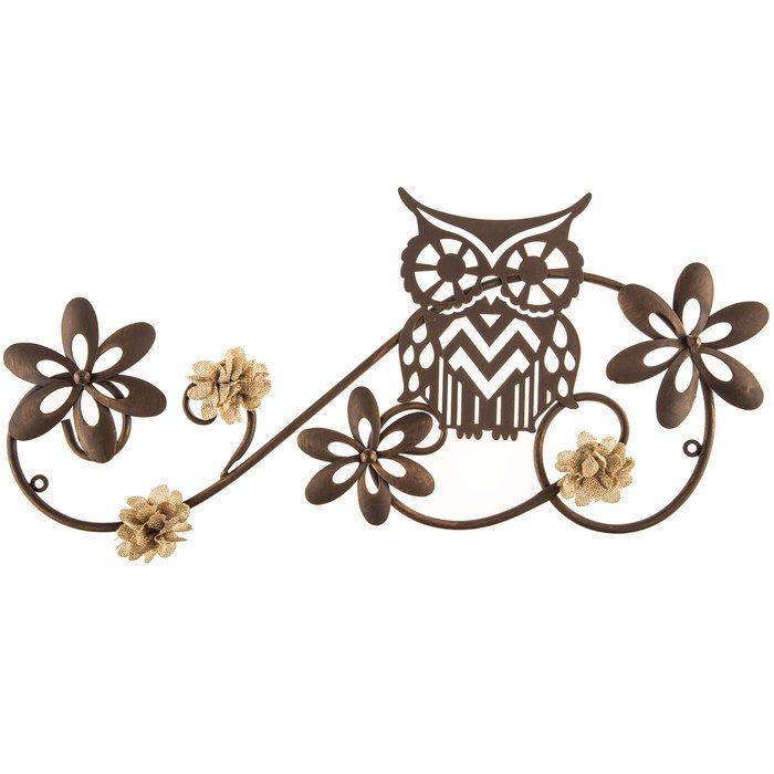 "21 1/4"" Wide Cute Bronze Owl Metal adorable and rustic Wall decor 