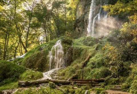 Uracher Wasserfall. Es ist richtig schön dort für Naturliebhaber